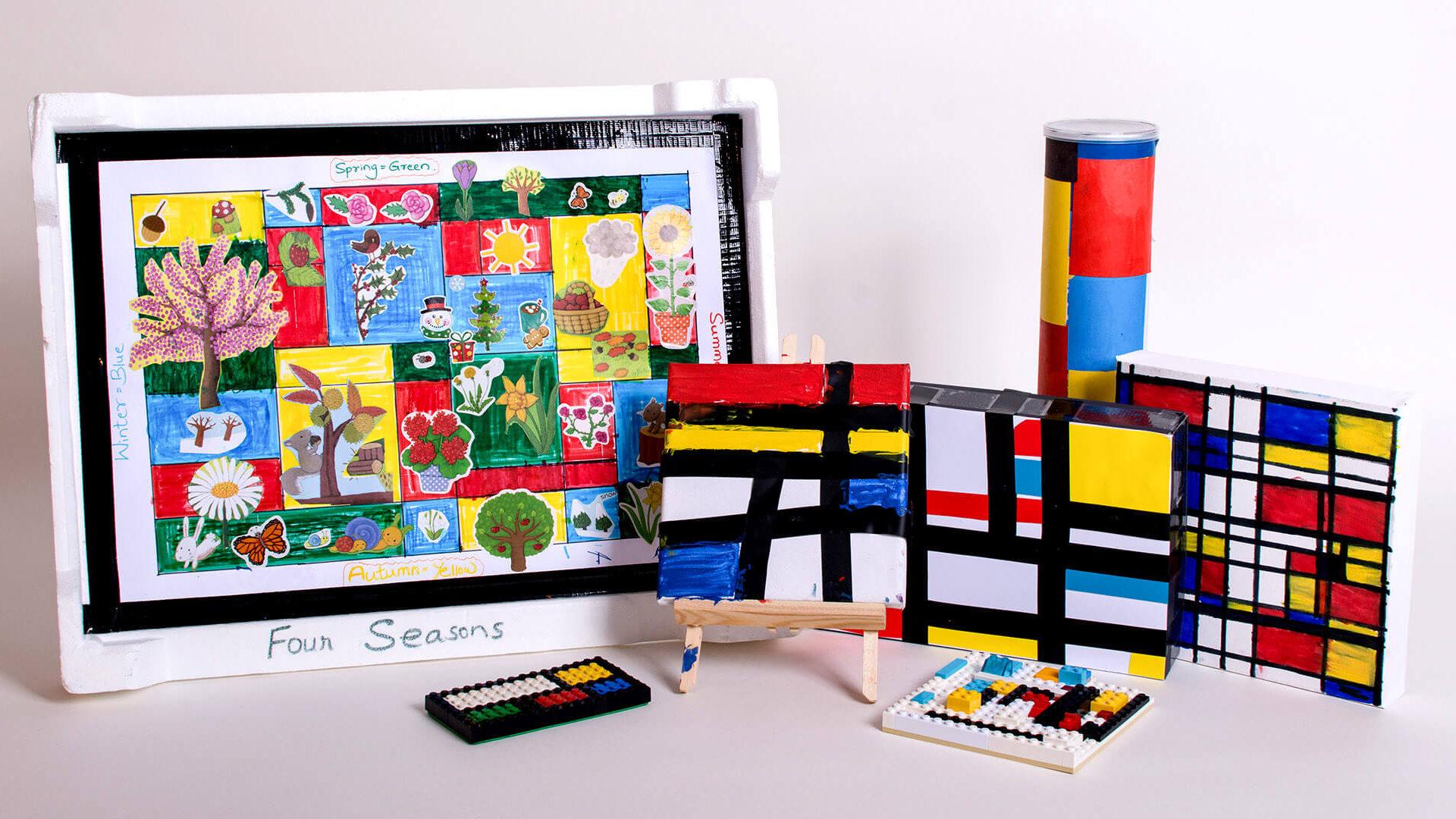 Photographing the children's Mondrian models